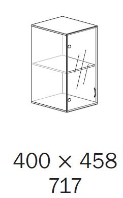 ALFA 500 Skříň 400x458x717, Nástavec, Dveře sklo levé, Třešeň