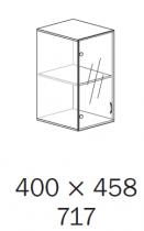 ALFA 500 Skříň 400x458x717, Nástavec, Dveře sklo l