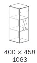 ALFA 500 Skříň 400x458x1063 Dveře sklo l, D