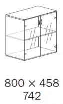 ALFA 500 Skříň 800x458x742 FT Přístavná Dveře sklo