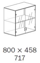 ALFA 500 Skříň 800x458x717 FT Nástavec Dveře sklo<