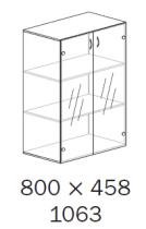 ALFA 500 Skříň 800x458x1063 FT Dveře sklo,