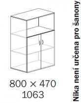ALFA 500 Skříň 800x470x1063 FT Dveře LTD/NIKA<!---