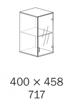 ALFA 500 Skříň 400x458x717, Nástavec, Dveře sklo pravé, Třešeň