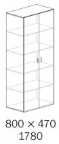ALFA 500 Skříň 800x470x1780 FT Dveře, Jablo