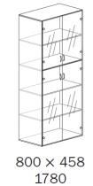 ALFA 500 Skříň 800x458x1780 FT Dveře sklo,