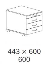 ALFA 500 Kontejner Mobilní 3+1 Zásuvka, Div